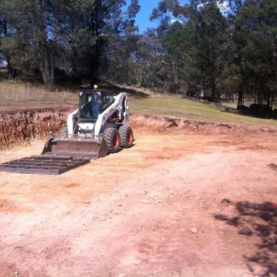 20x20m pad Excavated with Bobcat Orange