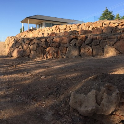 Rock wall constructed @ Ophir Road